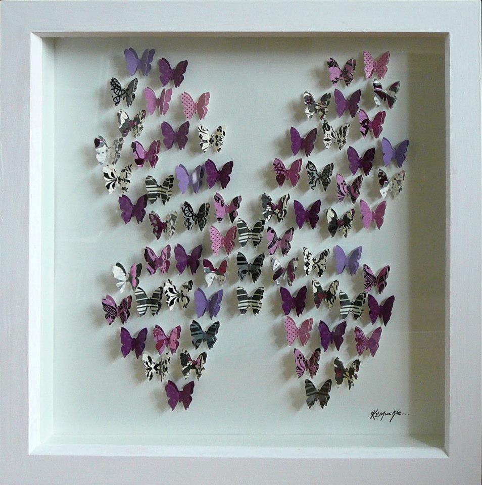 Kma005 3d paper shape art box frame butterflies in for How to do 3d paper art