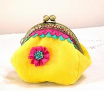 6. Handmade by Carrot Top yellow velvet purse