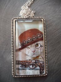 15. Handmade Vintage Style Glass buttons cameo necklace