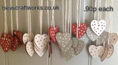 Bevs craft works wooden hearts