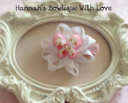 1. Hannahs Bowtique butterfly on a flower clip
