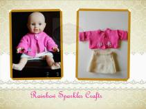 12. Rainbow Sparkles Crafts knitted cardigan and skirt for a doll