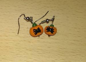 Minature Jens ~ Halloween Spider Pumpkin earrings