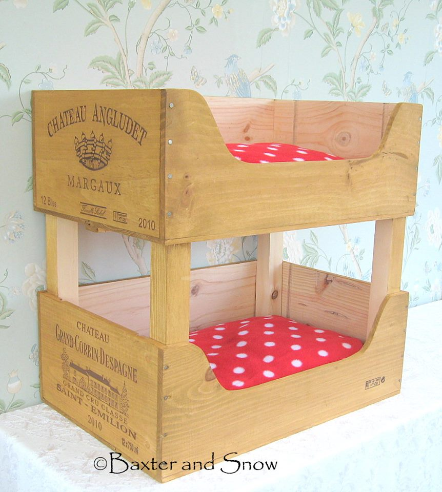 ... Snow – recycled wooden wine boxes cat bunk beds | The Crafty Network