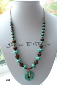 7. GEORGIA P DESIGNS Item 3 Antique Bronze and Turquoise necklace