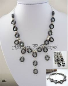 7. GEORGIA P DESIGNS Item 4 Hematite & clear crystal jewellery set
