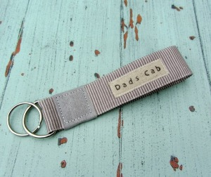 3. Ellabella designs Fathers Day Dads Cab keyring  ~ http://folksy.com/items/6277241-Keyring-hand-stamped-design-Dads-Cab-taupe-cream-and-grey
